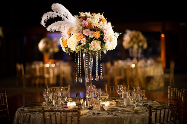 Wedding wednesday feathers and pearls beautiful blooms