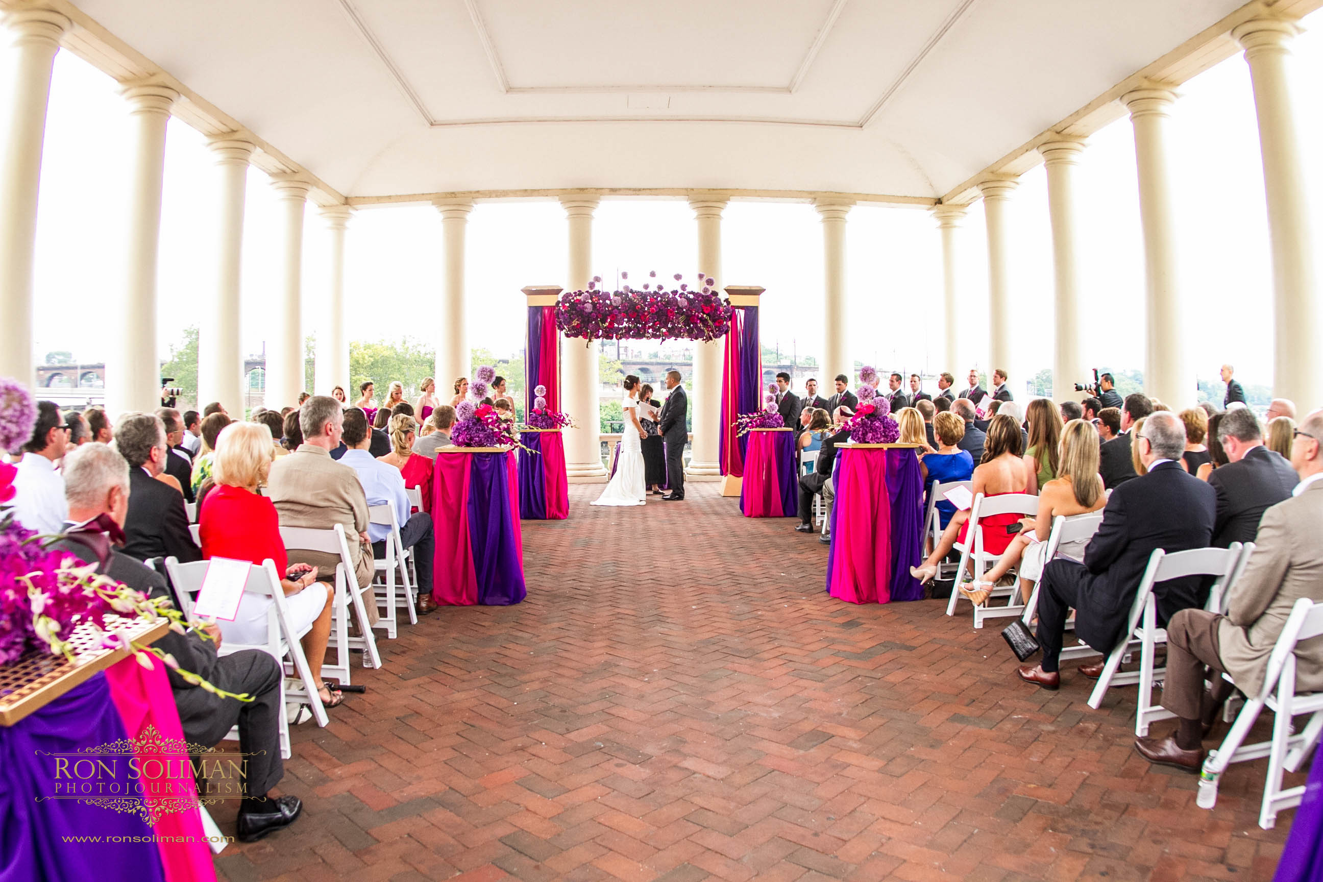 Beautiful Blooms Philadelphia Waterworks Wedding Pink Purple Modern