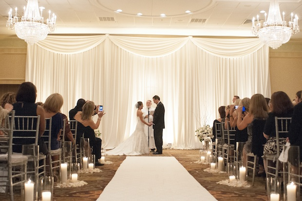 Elegant Drapery At Indoor Ceremony: Friday Feature: Indoor And Outdoor Ceremony Decor
