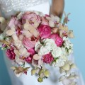 Beautiful Blooms Michael Leslie Pink Cascade Bouquet Cape May Congress Hall Garden Roses Phaldenopsis orchids