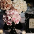 Beautiful Blooms Alison Conklin Curtis Center Pink and Black Wedding Roses Black Frames Black Stands