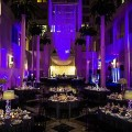 Beautiful Blooms Hoffer Photography Curtis Center Purple and White Wedding Purple Lighting Lampshades Submerged Orchids Tall Centerpieces