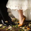Beautiful Blooms Alison Conklin The Racquet Club Wedding Fall Wedding Yellow Shoes Lace Dress