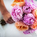 Beautiful Blooms Faith West Franklin Institute Wedding Peach and Pink Bouquet Peonies Garden Roses