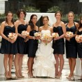 Beautiful Blooms Phil Kramer The Atrium at the Curtis Center Golden Peach Orange and Cream bouquets Navy Dresses