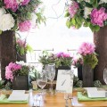 Beautiful Blooms Waterworks Tented Reception Pink, Green and White Peonies Wood and Bark Centerpieces Succulents Scabiosa Pods Jacquelyn Poussot