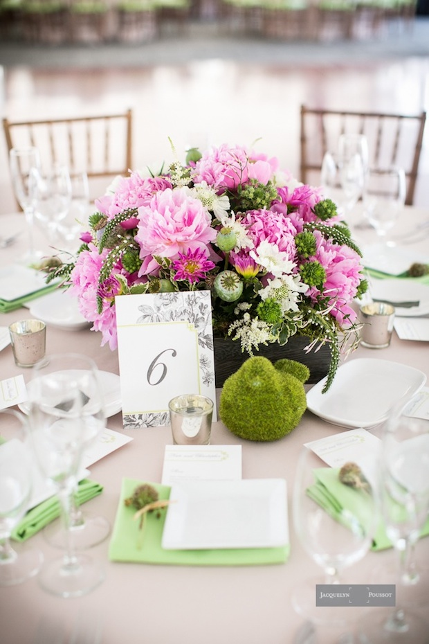 Beautiful Blooms Waterworks Tented Reception Pink and Green Flowers Moss Bird Peonies Wood Box Centerpiece Jacquelyn Poussot