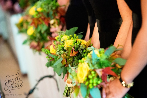 Beautiful Blooms Curtis Center Wedding Autumn Bouquets Yellow Roses Fall Foliage Sarah Schulte