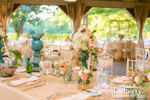 Decorations Wedding Reception Aqua Wednesday Peach And White Beautiful Blooms