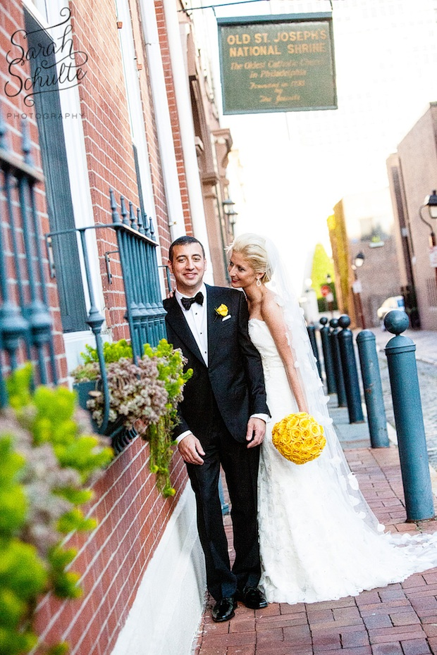 Beautiful Blooms Sarah Schulte Bride and Groom Curtis Center Wedding Yellow Rose Bouquet and Boutonniere
