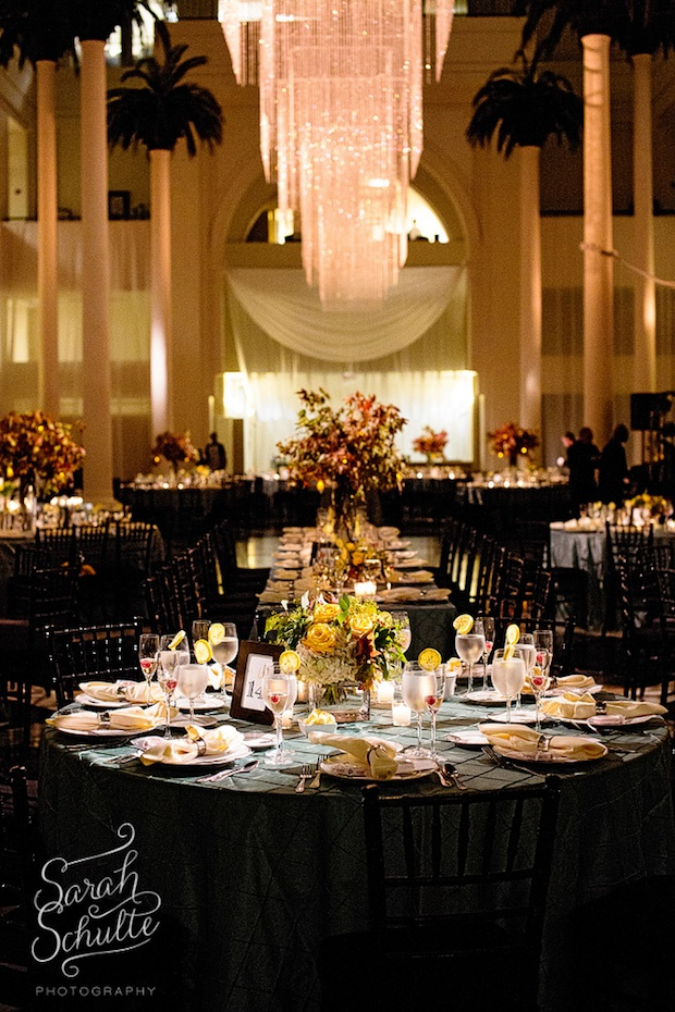 Beautiful Blooms Sarah Schulte Curtis Center Reception Tall and Low Centerpieces Autumn Leaves Yellow Roses