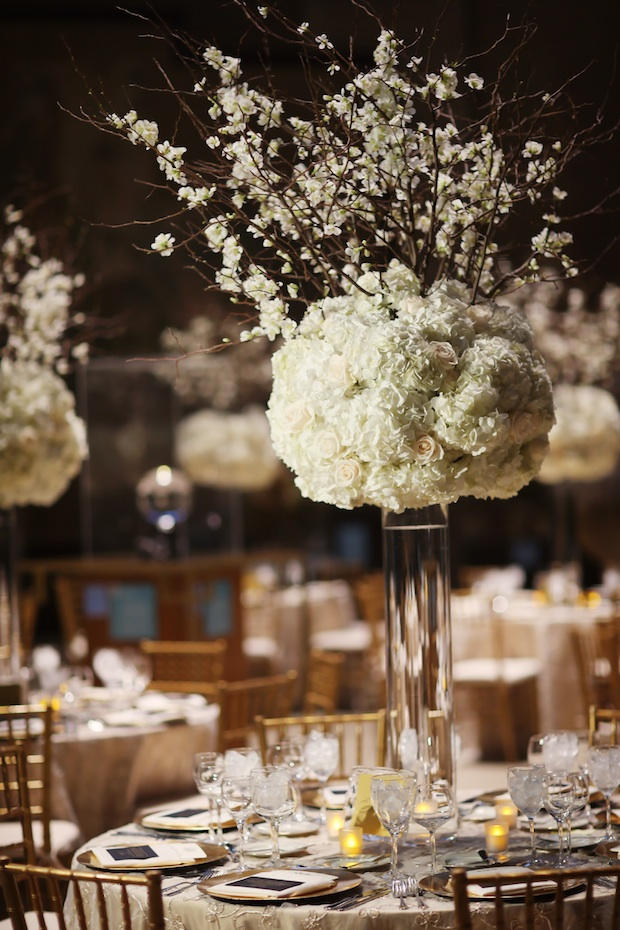 beautiful blooms hydrangea and cherry bloosom tall centerpiece white penn museum wedding reception alison conklin copy