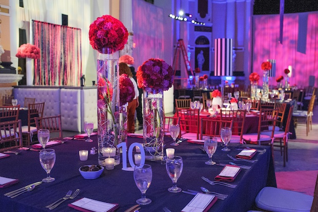 Beautiful Blooms Mark Tassoni Pink and Blue B'Nai Mitzvah Centerpieces Wire Rose Balls Lampshades Please Touch Museum