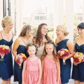 Beautiful Blooms Trent Bailey Photography Rock Paper Scissors Bridesmaids Bouquets Magenta Orange Peonies Succulents Navy bridesmaid dresses Congress Hall tented wedding flower girl head wreaths