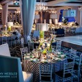 Beautiful Blooms Jeremy Messler Vie Bar Mitzvah Golf Modern Green White Navy Banquettes Striped Linens calla lilies