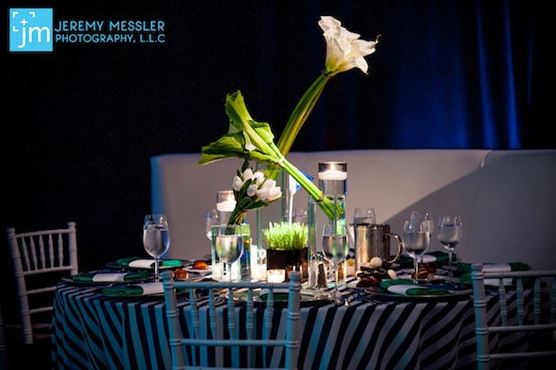 Beautiful Blooms Jeremy Messler Vie Bar Mitzvah Green and White and Navy Golf Modern Leaping flowers Calla Lilies tulips wheatgrass stripe linens