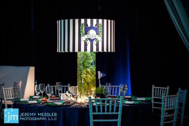 Beautiful Blooms Jeremy Messler Vie Bar Mitzvah Green and White and Navy Orchids Striped lampshades Wheatgrass