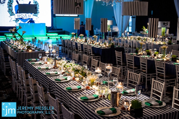 Beautiful Blooms Jeremy Messler Vie Bar Mitzvah Navy White Green Striped Linens Lampshades Tulips Calla Lilies