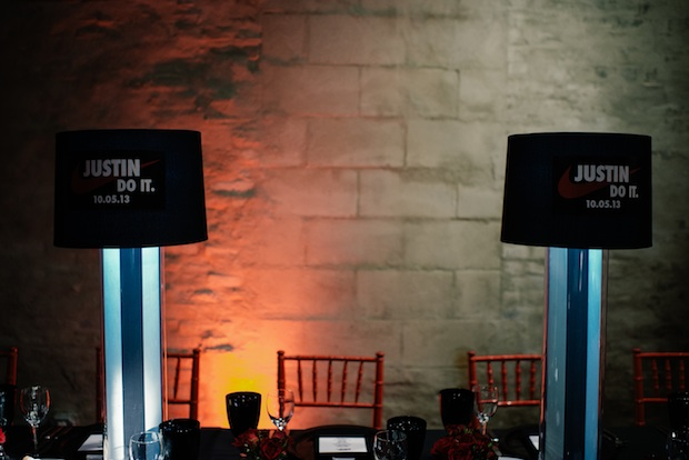 Beautiful Blooms Mark Tassoni Front & Palmer Sports Bar Mitzvah Stripes lampshades red black silver white red chairs red uplighitng