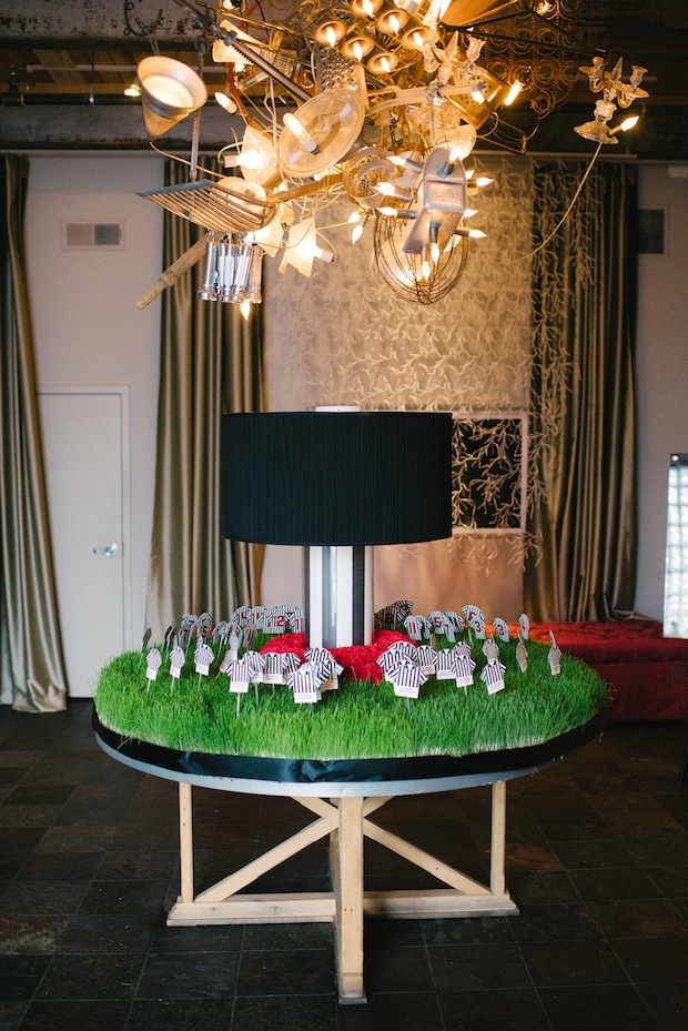 Beautiful Blooms Mark Tassoni Place Card Table Front & Palmer Wheatgrass Sport Bar Mitzvah Jersey Placecards Lampshade black red, white