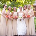 Beautiful Blooms Rachel Pearlman Photography Cescaphe Ballroom Bride and Bridesmaids Bouquet White and Greens Peach Orange Roses Berries Cymbidium Orchids
