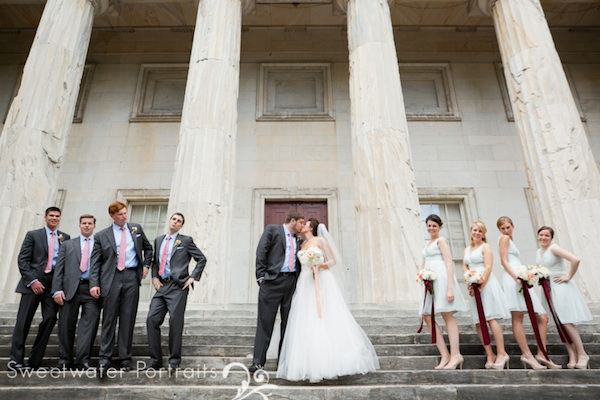 Beautiful Blooms Sweetwater Portraits Bride and Groom Curtis Center Wedding Reception Peach White Ivory