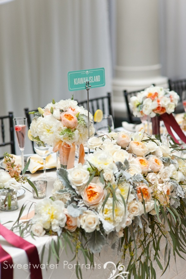 Beautiful Blooms Sweetwater Portraits Curtis Center Head Table Peach Ivory White Flowers Low Centerpieces