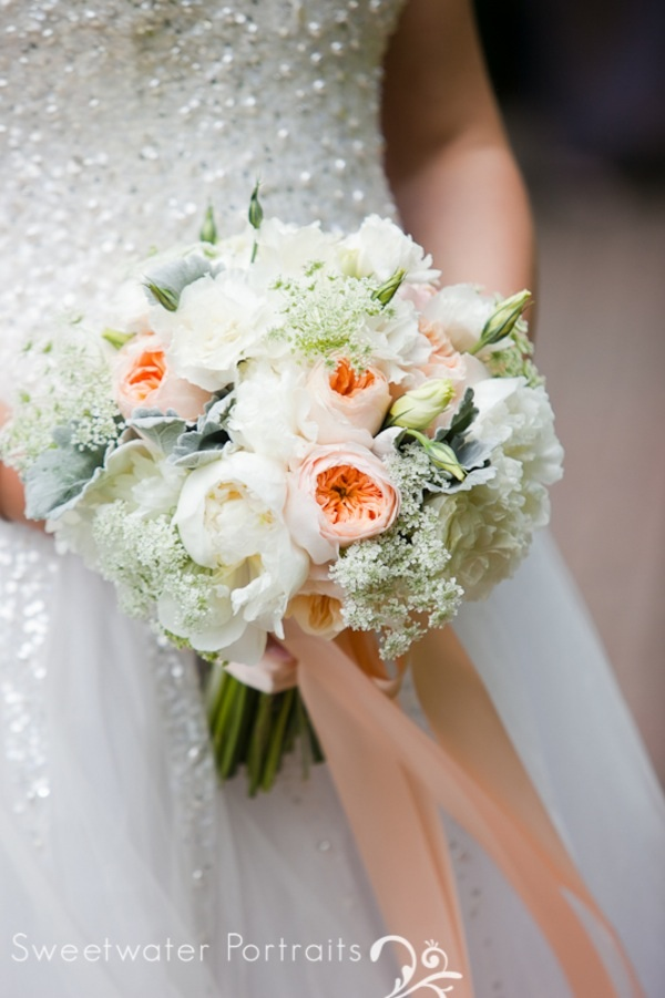 beautiful blooms sweetwater portraits curtis center wedding brides bouquet peach ivory white peonies garden roses queen - White Garden Rose Bouquet