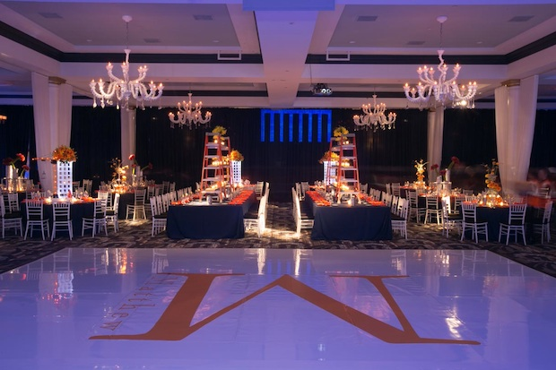 Beautiful Blooms Vie Phil Kramer Construction Bar Mitzvah Orange Yellow Blue Roses Ladders lilies Callas Flowers White Dance Floor