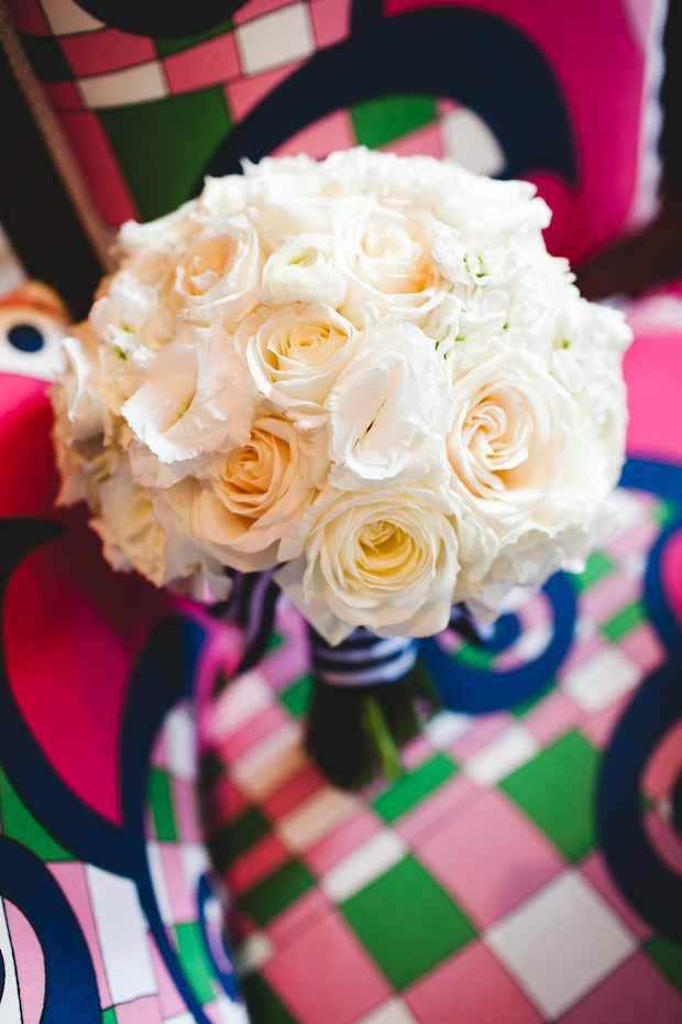 Beautiful Blooms 217 Photography Cape May Wedding Congress Hall Bride's Bouquet White and Ivory Roses Garden Roses Lisianthus Nautical Stripe Ribbon