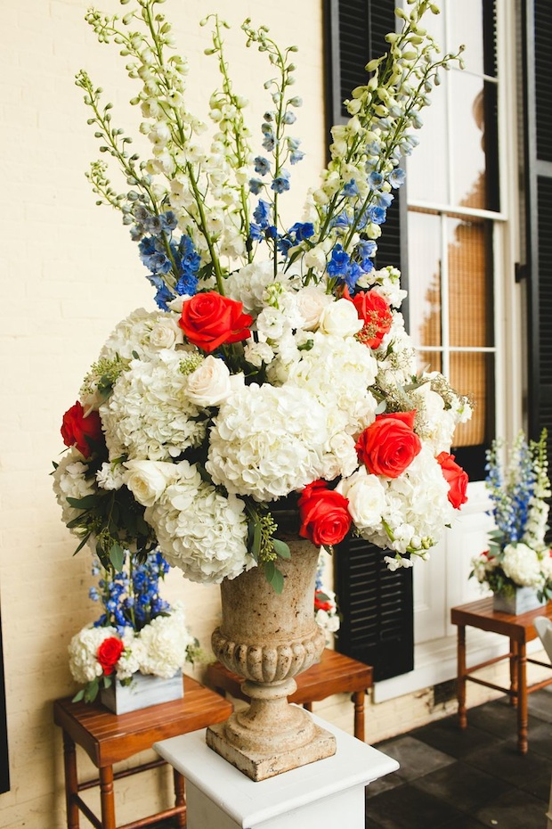 Beautiful Blooms 217 Photography Cape May Wedding Congress Hall Ceremony Arrangements Wrought Iron Urns Outside Ceremony Persimmon Orange White Cobalt Blue Hydrangea Delphinium Roses Garden Roses Thistle
