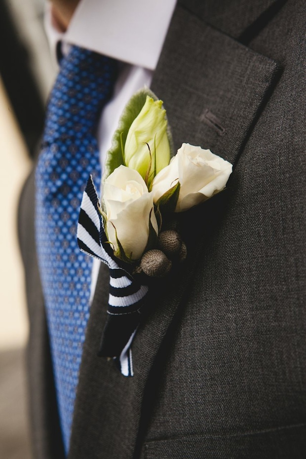 Beautiful Blooms 217 Photography Cape May Wedding Congress Hall Ceremony and Reception Boutonniere Groom White, Grey Navy Brunia, Spray Rose Lisianthsu Nautical Navy and White Ribbon