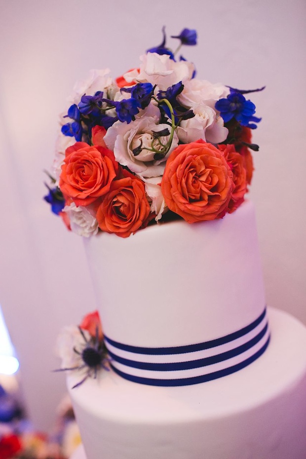 Beautiful Blooms 217 Photography Cape May Wedding Congress Hall Ceremony and Reception Cake Persimmon Orange White Thistle Roses Spray Roses Nautical Blue and White Stripe Ribbon