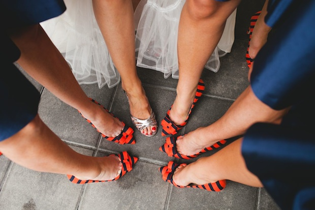 Beautiful Blooms 217 Photography Cape May Wedding Congress Hall Ceremony and Reception Persimmon Orange Electric Blue White Striped Shoes Bridesmaids Bride