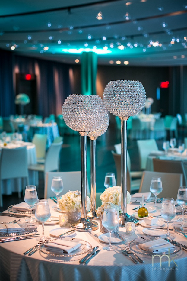 One Atlantic Wedding Philadelphia Floral Design Atlantic City White Centerpieces Bling Tall