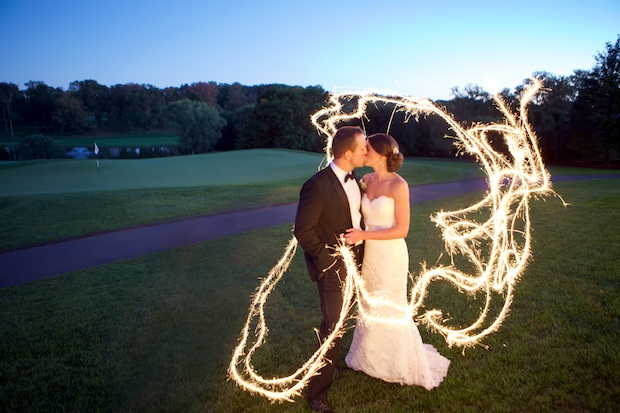 Beautiful Blooms Sarah DiCicco Philadelphia Country Club Wedding Sparklers Bride and Groom