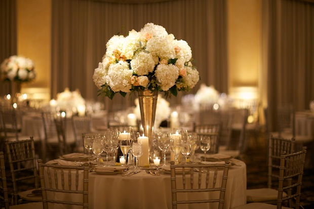 Beautiful Blooms Sarah DiCicco Philadelphia Country Club Wedding Tall Centerpiece Roses Hydrangea Candles