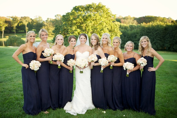 Beautiful Blooms Sarah Dicicco Philadelphia Country Club Peach and Ivory Bouquets Navy Dresses Wedding Roses Stock Stephanotis