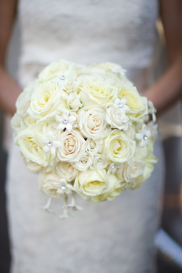 Beautiful Blooms Sarah Dicicco Philadelphia Country Club White Bouquet Garden Roses Stephanotis Crystals Bridal Bouquet