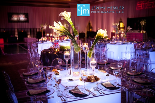 Beautiful Blooms Jeremy Messler Light Up Tables Floating Candles Beaded Charger Plate Leaping Calla Lilies Ghost Chairs Sports Bar Theme Modern Clean Elegant Wheatgrass Lampshades