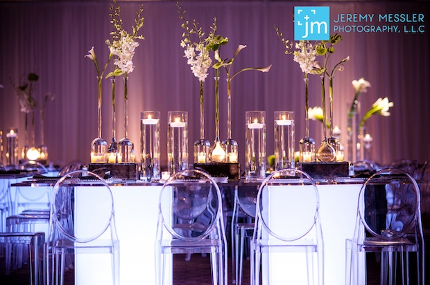 Beautiful Blooms Jeremy Messler Light Up Tables Ghost Chairs Calla Lilies Anthirium Dendrobium Orchids Floating Candles