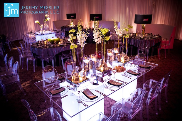 Beautiful Blooms Jeremy Messler Photography Light Up Tables Rectangle Mirrored Risers Glass Vases Floating Candles Calla Lilies Anthirium Dendrobium Orchids Leaping