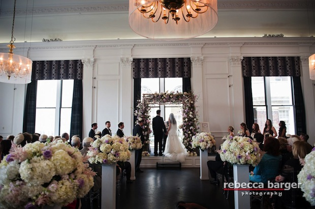 Beautiful Blooms Rebecca Barger Chuppah The Down Town Club Branches Cherry Blossom Hydrangea Pedestals Roses Astilbe Lavender Flowers Pink Flowers