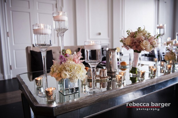 Beautiful Blooms Rebecca Barger Sweetheart Table Mirrored Table The Down Town Club Floating Candles