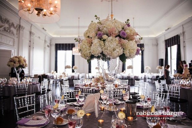 Beautiful Blooms Rebecca Barger The Down Town Club Light Pink Lavender White Tall Centerpiece Hydrangea Roses Crystals Glass Vases