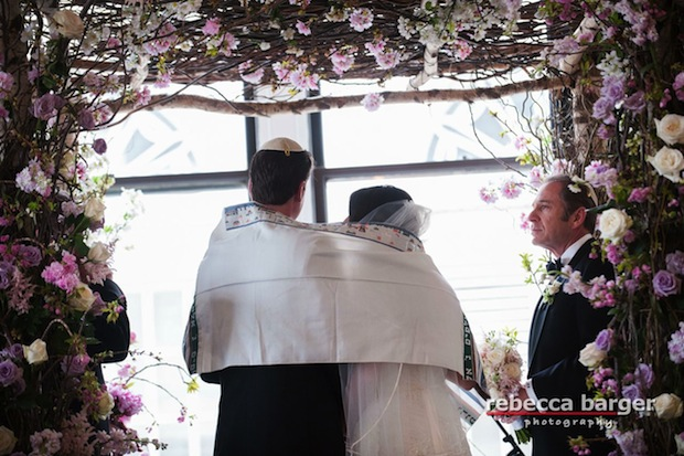 Beautiful Blooms The Down Town Club Chuppah Rebecca Barger Flowers Birch Branches Cherry Blossom Roses Curly Willow