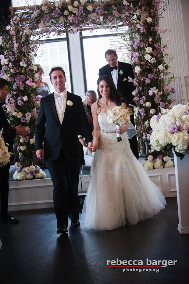 Beautiful Blooms The Down Town Club Rebecca Barger Chuppah Branch Cherry blossom Roses Hydrangea