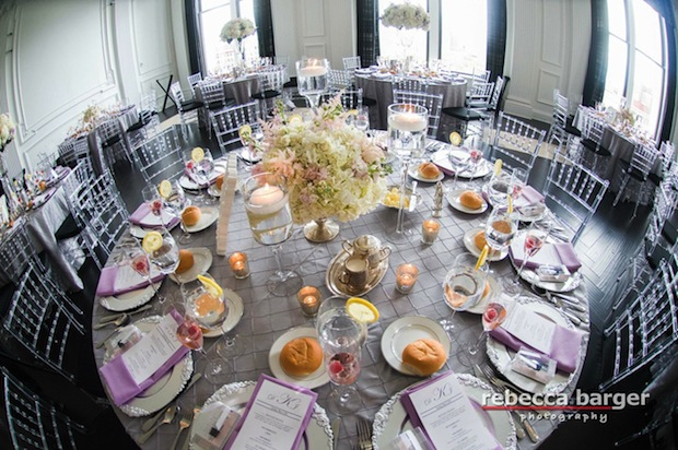 Beautiful Blooms The Down Town Club Rebecca Barger Low Centerpiece Silver Container Hydrangea Light Pink Lavender
