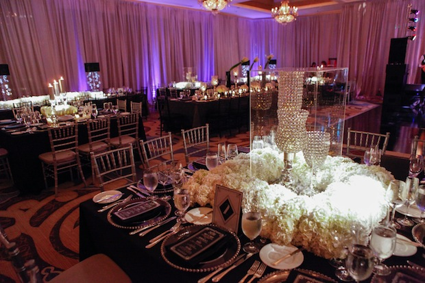 Beautiful Blooms The Four Seasons Wedding Reception Same Sex Wedding Purple Uplighting Duca Photography Lucite Box Hydrangea Square Table
