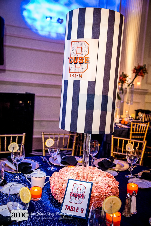 Anne Marie Casey Photography Beautiful Blooms Orange and Blue Striped Lampshade Orange Flowers Carnations Syracuse Theme Bar Mitzvah Cescaphe Ballroom